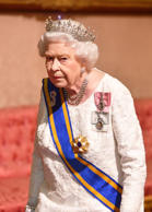 Queen Elizabeth II during the state visit by King Willem-Alexander and Queen Maxima of the Netherlands, at Buckingham Palace, in London, Britain, October 23, 2018. John Stillwell/Pool via REUTERS
