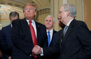 U.S. President Donald Trump shakes hands with U.S. Senate Majority Leader Mitch McConnell as Vice President Mike Pence looks on as the president departs after addressing a closed Senate Republican policy lunch while a partial government shutdown enters its 19th day on Capitol Hill in Washington, U.S., January 9, 2019. REUTERS/Jim Young