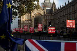LONDON, ENGLAND - JANUARY 23:  Anti Brexit placards outside the Houses o Parliament on January 23, 2019 in London, England. There are reports that MPs are proposing alternative plans to the Prime Ministers existing Brexit deal, including a possible extension to the exit date, currently scheduled for 29 March. (Photo by Dan Kitwood/Getty Images)
