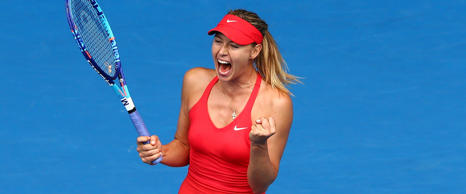 Maria Sharapova of Russia celebrates winning her quarterfinal match against Eugenie Bouchard of Canada during day nine of the 2015 Australian Open at Melbourne Park on January 27, 2015 in Melbourne, Australia.