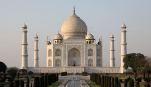 The Taj Mahal mausoleum is pictured in the Indian city of Agra on March 11, 2018. / AFP PHOTO / Ludovic MARIN        (Photo credit should read LUDOVIC MARIN/AFP/Getty Images)