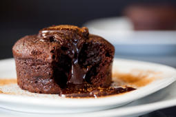 Close up Photograph of a chocolate souffle