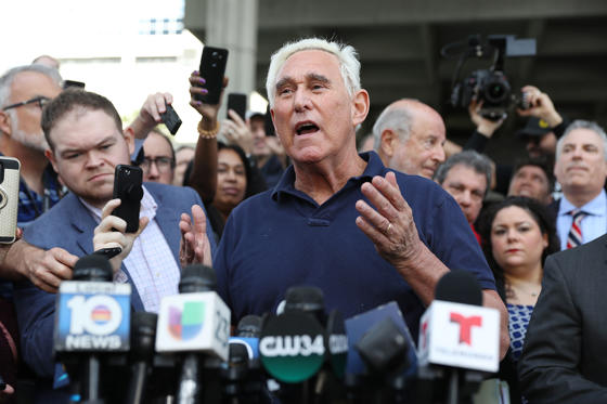 Slide 1 of 13: FORT LAUDERDALE, FLORIDA - JANUARY 25: Roger Stone, a former advisor to President Donald Trump, speaks to the media after leaving the Federal Courthouse on January 25, 2019 in Fort Lauderdale, Florida. Mr. Stone was charged by special counsel Robert Mueller of obstruction, giving false statements and witness tampering. (Photo by Joe Raedle/Getty Images)