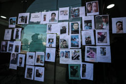 TLAHUELILPAN, MEXICO - JANUARY 20: Photographs of missing persons were stuck outside a cultural center after the funeral services of the victims of an explosion in a pipeline belonging to Mexican Public Oil Company Pemex on January 18, 2019 in Tlahuelilpan, Mexico. In a statement, PEMEX announced that the explosion was caused by the illegal manipulation of the pipeline, as minutes before the accident videos were shot where people could be seen filling drums and car fuel tanks. (Photo by Hector Vivas/Getty Images)