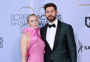 Emily Blunt, left, and John Krasinski arrive at the 25th annual Screen Actors Guild Awards at the Shrine Auditorium & Expo Hall on Sunday, Jan. 27, 2019, in Los Angeles. (Photo by Willy Sanjuan/Invision/AP)