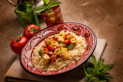 couscous with fish and vegetables and mint tea