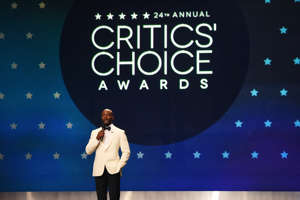SANTA MONICA, CA - JANUARY 13:  Host Taye Diggs speaks onstage at the 24th annual Critics' Choice Awards at Barker Hangar on January 13, 2019 in Santa Monica, California.  (Photo by Kevin Mazur/Getty Images for The Critics' Choice Awards)