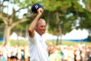 Matt Kuchar of the United States celebrates after making a putt for birdie on the 18th green to win the Sony Open In Hawaii at Waialae Country Club on January 13, 2019 in Honolulu, Hawaii.