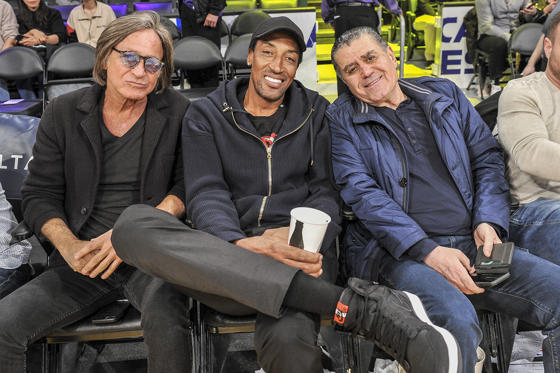 Slide 1 of 61: LOS ANGELES, CALIFORNIA - JANUARY 13: (L-R) Mohamed Hadid, Scottie Pippen and Haim Saban attend a basketball game between the Los Angeles Lakers and the Cleveland Cavaliers at Staples Center on January 13, 2019 in Los Angeles, California.