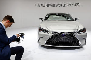 The new Lexus ES is displayed during a media preview of the Auto China 2018 motor show in Beijing, China April 25, 2018. REUTERS/Damir Sagolj