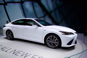 BEIJING, CHINA - APRIL 26:  A Toyota Motor Corp. Lexus ES sedan is on display during the Auto China 2018 at China International Exhibition Center on April 26, 2018 in Beijing, China. Auto China 2018, also known as 2018 Beijing International Automotive Exhibition, will be held from April 27 to May 4.  (Photo by VCG/VCG via Getty Images)