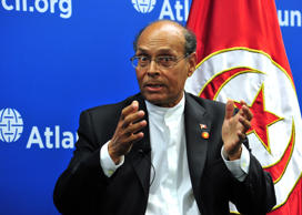 Mohamed Moncef Marzouki, President of Tunisia, addresses an audience August 5, 2014 at the Atlantic Council on the sidelines of the US-Africa Summit in Washington, DC. President Marzouki discussed Tunisia's successes to date and how the country can address pressing economic and security challenges as its democratic transition continues. AFP PHOTO / Karen BLEIER        (Photo credit should read KAREN BLEIER/AFP/Getty Images)