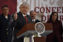 Mexican President Andres Manuel Lopez Obrador speaks during a press conference at the National Palace in Mexico City on January 14, 2019. - Lopez Obrador spoke about the new measures taken by the government to combat fuel theft. In the past days gasoline shortages have spread across the country, caused by a crackdown on such theft. (Photo by Alfredo ESTRELLA / AFP)        (Photo credit should read ALFREDO ESTRELLA/AFP/Getty Images)