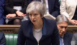 A handout video-grabbed still image from a video made available by UK parliament's parliamentary recording unit shows Britain's Prime Minister Theresa May speaking prior to the Meaningful Vote at the parliament late 15 January 2018, London, United Kingdom, the crucial vote on whether to support or reject Theresa May's deal of UK leaving the European Union. The legally-binding Withdrawal Agreement sets up a 'transition or implementation period' that runs until the end of 2020 after Brexit. The United Kingdom, that on 01 January 1973 joined EEC or European Communities, predecessor of European Union, has been a EU member state for 46 years.