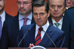MEXICO CITY, MEXICO - AUGUST 20: President of Mexico Enrique Peña Nieto speaks during a press conference at Palacio Nacional on August 20, 2018 in Mexico City, Mexico. Obrador met with President Pena Nieto to discuss the transition between them. (Photo by Carlos Tischler/Getty Images)
