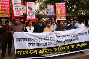 Bangladesh Garments workers Rights Movement held a protest rally to demands immediate release arrested workers during last workers strike and sacked workers from different garment factory for jointed that workers strike, in Dhaka, Bangladesh. On January 16, 2019  (Photo by Mamunur Rashid/NurPhoto via Getty Images)