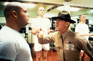 Actors Vincent d'Onofrio, Matthew Modine and R.Lee Ermey on the set of 'Full Metal Jacket'. (Photo by Sunset Boulevard/Corbis via Getty Images)