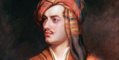 George Gordon Byron (1788 - 1824), commonly known simply as Lord Byron. Anglo-Scottish poet and a leading figure in the Romantic movement.