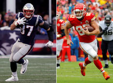 FILE - At left, in a Dec. 30, 2018, file photo, New England Patriots tight end Rob Gronkowski runs during the second half of an NFL football game in Foxborough, Mass. At right, in an Oct. 7, 2018, file photo, Kansas City Chiefs tight end Travis Kelce carries the ball during the first half of an NFL football game against the Jacksonville Jaguars in Kansas City, Mo. Brady and Mahomes get plenty of attention, but they can't do it alone. Patriots running back James White tied Darren Sproles' postseason record with 15 catches in their 41-28 divisional victory over the Chargers, while Rob Gronkowski and Julian Edelman remain dangerous threats. The Chiefs counter with the pass-catching trio of speedy Tyreek Hill, Sammy Watkins and sure-handed Travis Kelce. (AP Photo/File)