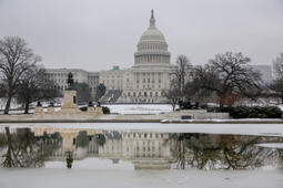The Capitol is seen as the negotiations to end the month long partial government shutdown remain stalled, in Washington, Friday, Jan. 18, 2019. (AP Photo/J. Scott Applewhite)