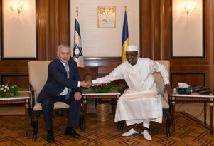 Israeli Prime Minister Benjamin Netanyahu shakes hands with Chad's President Idriss Deby, during their meeting in N'Djamena, Chad January 20, 2019. Kobi Gideon/Government Press Office/Handout via REUTERS ATTENTION EDITORS - THIS PICTURE WAS PROVIDED BY A THIRD PARTY.