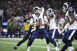 Football: Los Angeles Rams QB Jared Goff (16) in action, passing vs New Orleans Saints at Mercedes-Benz Superdome. New Orleans, LA 11/4/2018 CREDIT: Greg Nelson (Photo by Greg Nelson /Sports Illustrated/Getty Images) (Set Number: X162293 TK1 )