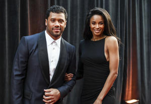 Russell Wilson, of the Seattle Seahawks, left, and Ciara arrive at the 8th annual NFL Honors at The Fox Theatre on Saturday, Feb. 2, 2019, in Atlanta.