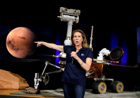 Slide 1 of 128: Lori Glaze, acting director of NASA's Planetary Science Division, speaks during a mission briefing for the Mars Exploration Rover Opportunity at NASA's Jet Propulsion Laboratory, Feb. 13, in Pasadena, Calif.