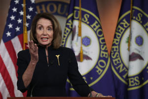 WASHINGTON, DC - FEBRUARY 14:  U.S. Speaker of the House Rep. Nancy Pelosi (D-CA) speaks during a weekly news conference at the U.S. Capitol February 14, 2019 in Washington, DC. Speaker Pelosi spoke on various topics, including the Government Funding and Border Security legislation. (Photo by Alex Wong/Getty Images)
