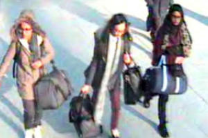 Amira Abase Kadiza Sultana and Shamima Begum were pictured at Gatwick airport