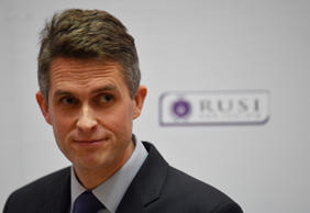 Britain's Defence Secretary Gavin Williamson delivers a keynote speech at the Royal United Services Institute (RUSI) in London, Britain, February 11, 2019.