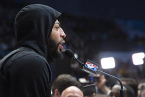CHARLOTTE, NC - FEBRUARY 16: A close up shot of Anthony Davis #23 of Team LeBron talking to the media during 2019 NBA All-Star Practice and Media Availability on February 16, 2019 at Bojangles Coliseum in Charlotte, North Carolina. NOTE TO USER: User expressly acknowledges and agrees that, by downloading and or using this photograph, User is consenting to the terms and conditions of the Getty Images License Agreement. Mandatory Copyright Notice: Copyright 2019 NBAE (Photo by Andrew D. Bernstein/NBAE via Getty Images)