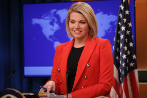 FILE: WASHINGTON, USA - NOVEMBER 15: U.S. Department of State Spokesperson Heather Nauert speaks during a press conference in Washington, United States on November 15, 2018. (Photo by Yasin Ozturk/Anadolu Agency/Getty Images)