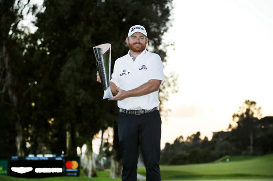 Slide 1 of 106: J.B. Holmes poses with his trophy on the 18th green after winning the Genesis Open golf tournament at Riviera Country Club on Sunday, Feb. 17, 2019, in the Pacific Palisades area of Los Angeles.