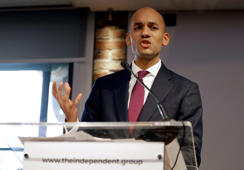 Chaka Umunna speaks during a press conference to announce the new political party, The Independent Group, in London, Monday, Feb. 18, 2019. Seven British Members of Parliament say they are quitting the main opposition Labour Party over its approach to issues including Brexit and anti-Semitism. Many Labour MPs are unhappy with the party's direction under leader Jeremy Corbyn, a veteran socialist who took charge in 2015 with strong grass-roots backing. (AP Photo/Kirsty Wigglesworth)