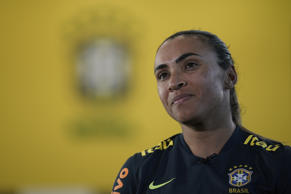 Brazil's Marta listens to a question during an interview at the Granja Comary training center in Teresopolis, Brazil, Tuesday, Jan. 22, 2019. Marta is in preparation for the women's World Cup in France. (AP Photo/Leo Correa)