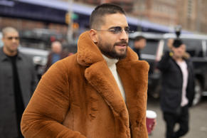 NEW YORK, NEW YORK - FEBRUARY 13: Maluma is seen on the street during New York Fashion Week AW19 wearing BOSS on February 13, 2019 in New York City. (Photo by Matthew Sperzel/Getty Images)