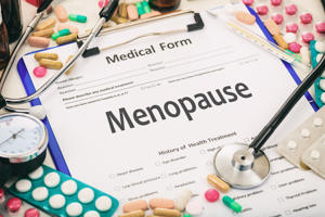 Medical form on a table, diagnosis menopause