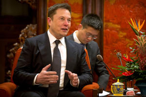 BEIJING, CHINA - JANUARY 09: Tesla CEO Elon Musk speaks during a meeting with Chinese Premier Li Keqiang, not shown, at the Zhongnanhai leadership compound on January 9, 2018 in Beijing, China.  (Photo by Mark Schiefelbein - Pool/Getty Images)