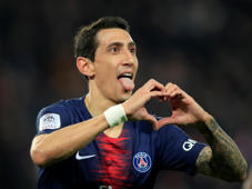 Soccer Football - Ligue 1 - Paris St Germain v Montpellier - Parc des Princes, Paris, France - February 20, 2019  Paris St Germain's Angel Di Maria celebrates scoring their second goal   REUTERS/Gonzalo Fuentes