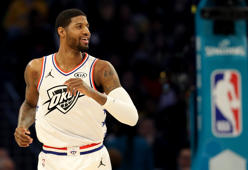 CHARLOTTE, NORTH CAROLINA - FEBRUARY 17: Paul George #13 of the Oklahoma City Thunder and Team Giannis reacts against Team LeBron in the second quarter during the NBA All-Star game as part of the 2019 NBA All-Star Weekend at Spectrum Center on February 17, 2019 in Charlotte, North Carolina.  NOTE TO USER: User expressly acknowledges and agrees that, by downloading and/or using this photograph, user is consenting to the terms and conditions of the Getty Images License Agreement.  (Photo by Streeter Lecka/Getty Images)