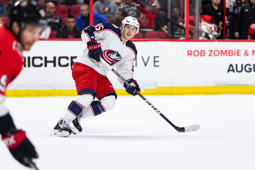 OTTAWA, ON - FEBRUARY 22: Columbus Blue Jackets Center Matt Duchene (95) applies pressure on the forecheck  during first period National Hockey League action between the Columbus Blue Jackets and Ottawa Senators on February 22, 2019, at Canadian Tire Centre in Ottawa, ON, Canada. (Photo by Richard A. Whittaker/Icon Sportswire via Getty Images)