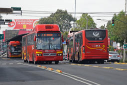 Mexico, Mexico City - 3rd January, 2019: Volvo 7300 BRT articulated buses used in Bus Rapid Transit (BRT) system in Mexico City. These buses are the one of most popular buses in Mexico City.
