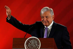 Mexico's President Andres Manuel Lopez Obrador gestures during his daily news conference at National Palace in Mexico City, Mexico February 15, 2019. Picture taken February 15, 2019. REUTERS/Henry Romero