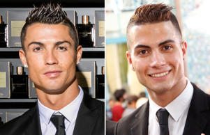 MADRID, SPAIN - SEPTEMBER 09: Cristiano Ronaldo poses as he unveils his debut fragrence 'Cristiano Ronaldo Legacy' at a launch party on September 9, 2015 in Madrid, Spain. (Photo by Getty Images for Cristiano Ronaldo Legacy); Iranian Reza Alireza Lou, a look-alike of Real Madrid's Portuguese soccer player Cristiano Ronaldo, holds his ID card as he poses for photographs during the Iranian presidential elections on May 19, 2017 at a polling station in Tehran. / AFP PHOTO / STR (Photo credit should read STR/AFP/Getty Images)