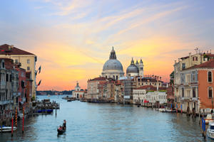 Most beautiful and visited view from Accademia Bridge on Grand Canal in Venice, Venice is the major tourist destination in Italy, always crowded with tourist and visitors. Image taken at sunset with my Canon 6D on Jun 2016.