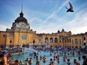 Baths culture in Hungary, people bathing at Szechenyi thermal bath in Budapest