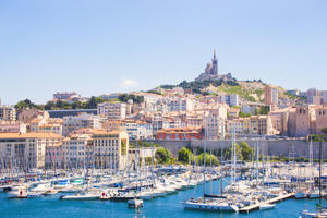 City of Marseille, France, seen from the old harbor and the good mother.