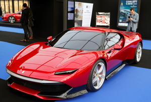 PARIS, FRANCE - JANUARY 29: A Ferrari SP38 is on display during the 34nd International Festival Automobile at 'Hotel des Invalides' on January 30, 2019 in Paris, France. This concept cars and design automobile exhibition takes place from January 31 to February 03, 2019.  (Photo by Chesnot/Getty Images)