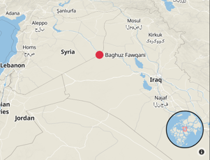 A map showing the location of Islamic State's last stronghold